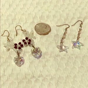 Lot of 2 Swarovski crystal beaded dangle earrings